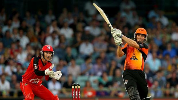 Shaun Marsh hits a six during his knock of 85 in the Big Bash League match against the Melbourne Renegads at the WACA on ...