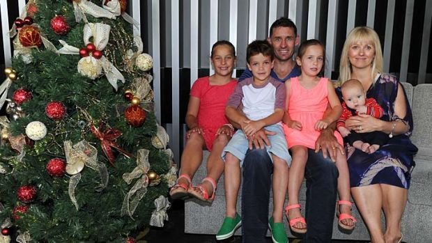 Australian cricketer Mike and Amy Hussey with kids Jasmin, Will, Molly and Oscar ( baby) at the players luncheon, ...