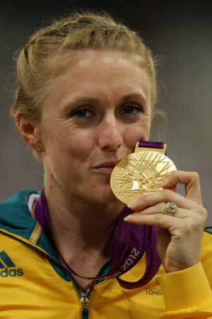 Sally Pearson with her 100m hurdles gold medal at the  2012  London Olympic Games.