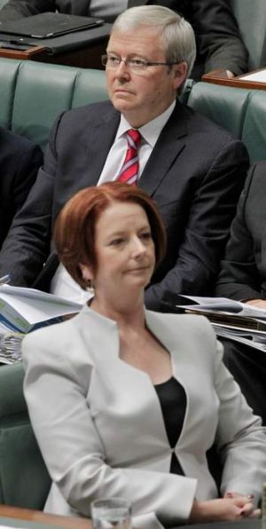 Prime Minister Julia Gillard and Foreign Minister Kevin Rudd during question time at Parliament House Canberra on ...