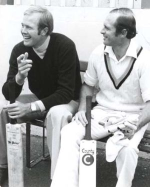 """""""We earned tuppence ha'penny playing for England"""" ... Tony Greig and Geoff Boycott before a match at the SCG in 1976."""