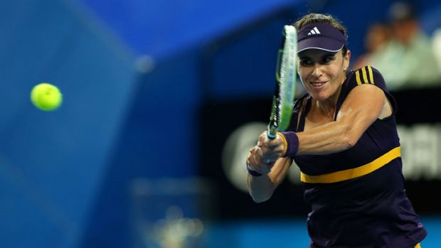 Anabel Medina Garrigues of Spain in her singles match against Mathilde Johansson of France at Perth Arena.