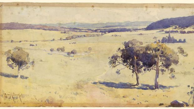 Penleigh Boyd's watercolour, <i>The Canberra Site</i>, 1913.