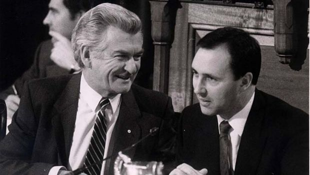 The way they were … Bob Hawke and Paul Keating on July 1, 1985 at the opening of the promised national tax summit.