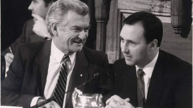 Bob Hawke and Paul Keating at the 1985 tax summit.