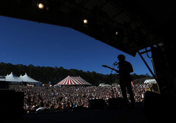 Matt Corby performs on stage at The Falls Music and Arts Festival at  Lorne.