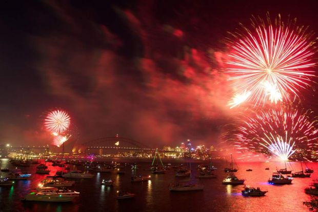 Sydney's 9.30pm New Year's Eve fireworks on the harbour.