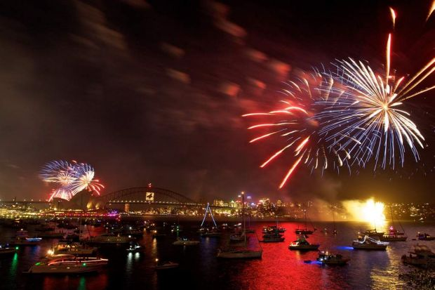 Firework display from Mrs Macquarie Point.