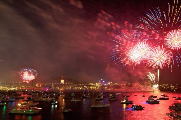 Fireworks display from Mrs Macquarie Point.