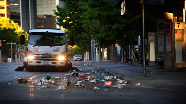 The early morning clean up in Canberra's CBD, post-New Years Eve celebrations.