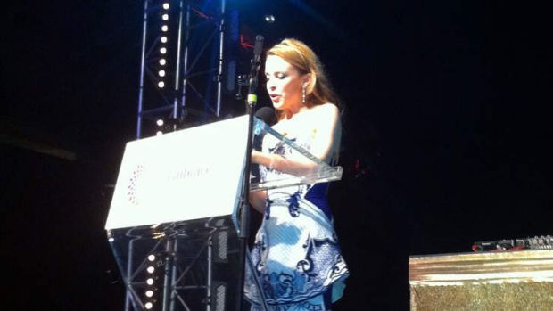 Star turn ... Kylie Minogue at Lord Mayor Clover Moore's elegant party at the Opera House.