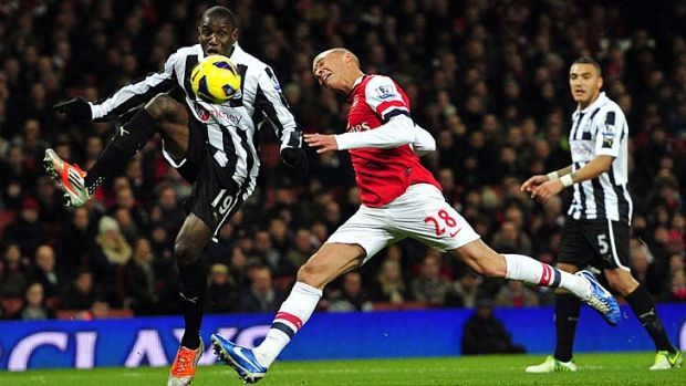 Newcastle United's French-born Senegalese striker Demba Ba