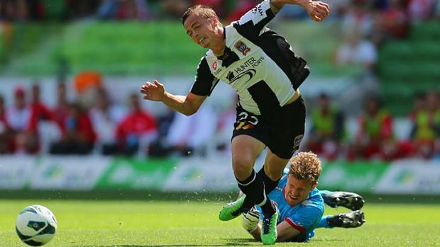The foul on Newcastle Jet Ryan Griffiths by goalkeeper Andrew Redmayne which led to a goal from the penalty spot.