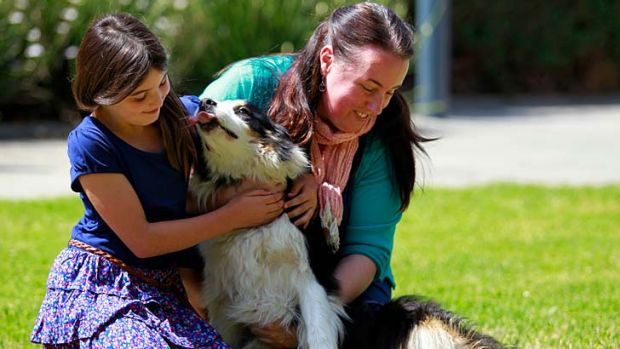 Jenny Stokes and her daughter Olivia, reunited with Jet on Tuesday.