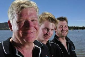 Family trio (L-r) father Ian, and sons Nicholas and Michael Cooke competed in the Sydney to Hobart.