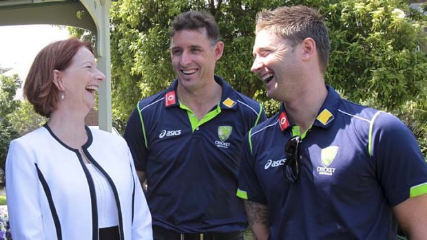 Nobody told them there'd be days like this ... Julia Gillard shares a joke with Michael Hussey and Michael Clarke at ...