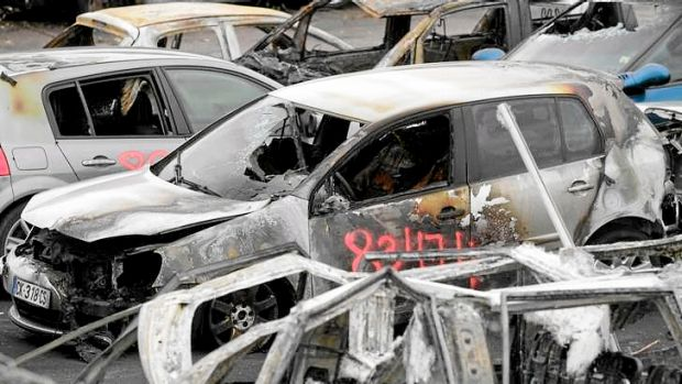Cars torched during New Year's Eve in  Strasbourg, eastern France.