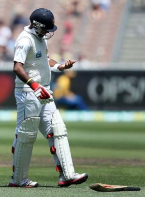 Just what the doctor ordered ... Dhammika Prasad of Sri Lanka injured a finger off the bowling of Mitchell Johnson in ...