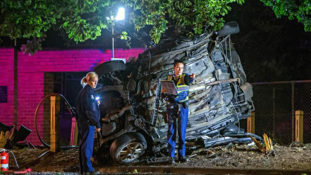The accident scene in Cranbourne in which a man was killed after the car he was driving struck a tree about 3am on Wednesday.