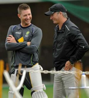 Michael Clarke speaks to former captain Steve Waugh during a nets session at the SCG on Wednesday.