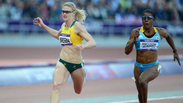 Australia's Melissa Breen running in her heat of the womens 100m at London.
