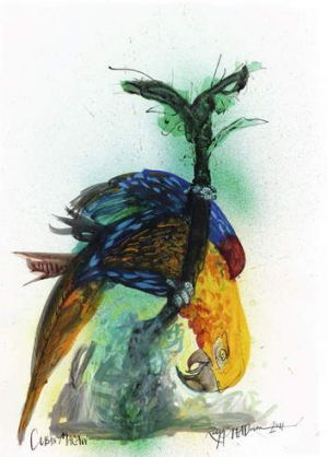 Winged messenger ... the extinct Cuban macaw.