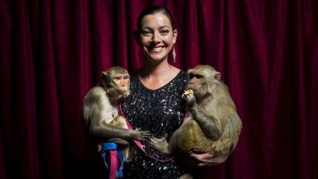 Stardust Circus' Wonona West with Millie and Cleo, two of the monkeys involved in a car accident on Thursday last week.