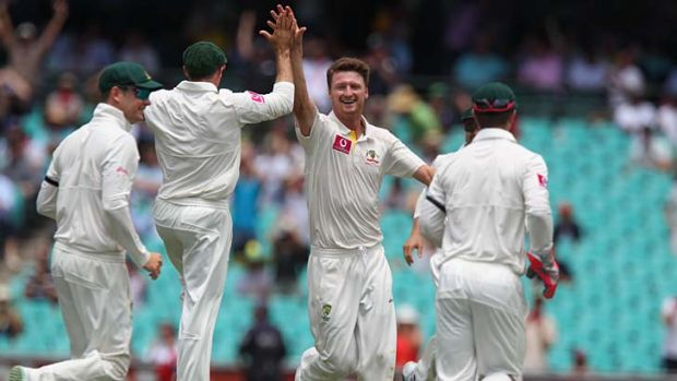 Early celebration: Jackson Bird after getting Lahiru Thirimanne leg before. The decision was overturned.