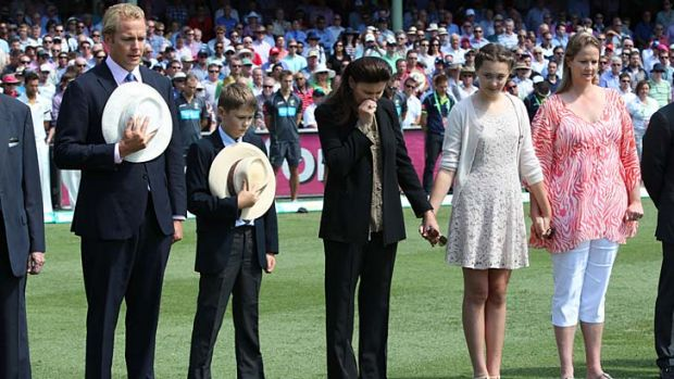 Respect … the family of the late Tony Greig - sons Mark and Tom, wife Vivian, and daughters Beau and Samantha - ...