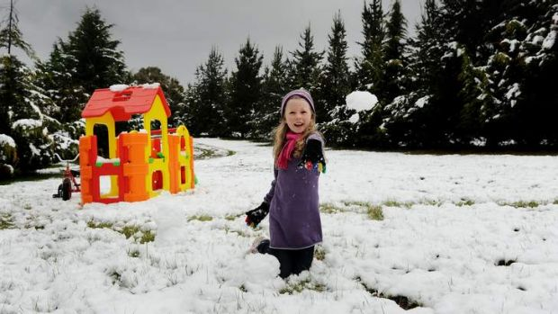Overnight snow falls in Wamboin, 6 yr old Lilly Axelby plays in her front yard
