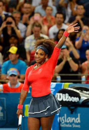 American Serena Williams after defeating compatriot Sloane Stephens in their quarter-final match at the Brisbane ...