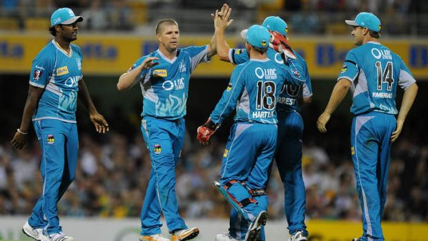 Brisbane Heat celebrates a wicket against the Stars.