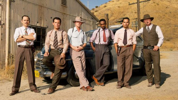 (L-r) GIOVANNI RIBISI as Officer Conwell Keeler, JOSH BROLIN as Sgt. John O'Mara, RYAN GOSLING as Sgt. Jerry Wooters, ...
