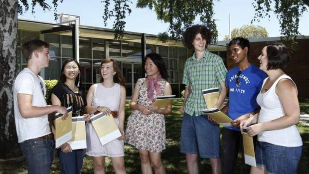 Narrabundah College Year 12 students (from left) Max Milosevic, Louise Wei, Marissa Lightfoot, Vivian Chan, Benedikt ...