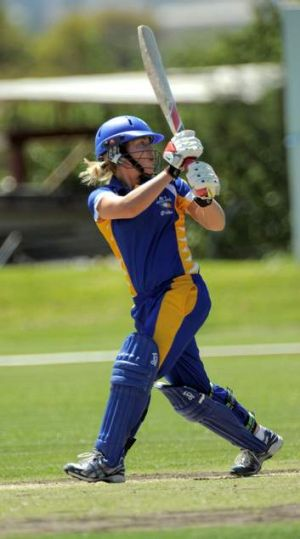 Sara Hungerford watches the bails fly as she is bowled on Friday.