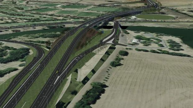 An artist's impression of the completed Majura Parkway.