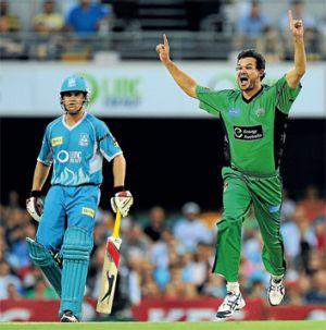 Howzat: Melbourne Stars pace bowler Clint Mckay appeals.