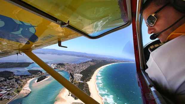 On the lookout … Chad Carey, of Australian Aerial Patrol, searches for sharks between Helensburgh and Gerroa on Friday.