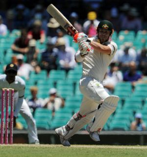 Falling short: David Warner plays a pull shot...