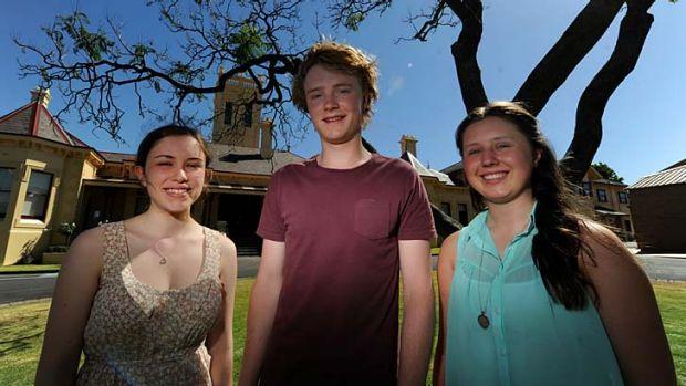 Students from St Leonard's college Kara Robinson, Ben Harris and Katie Punshon.