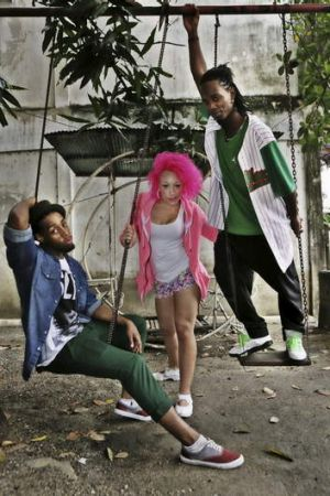 Pop in the playground ... from left, Blaze dancers Anthony Hutchinson, Kloe Dean and Fabrice Labrana. Photo: Prudence Upton.