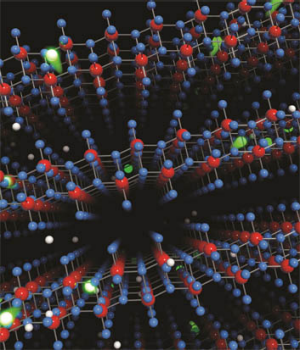 Artist impression of high carrier mobility through layered molybdenum oxide crystal lattice.