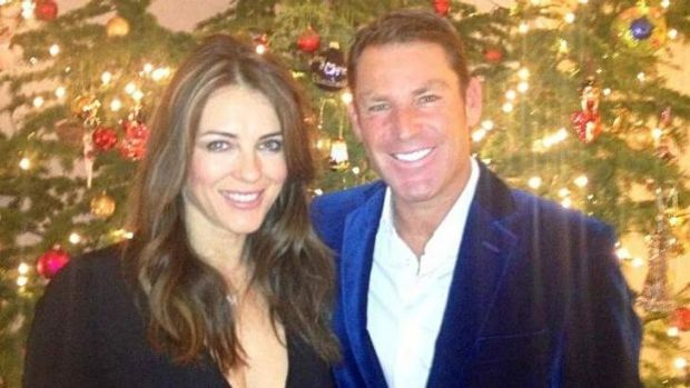 Tweethearts @ElizabethHurley with her beau, @warne888.