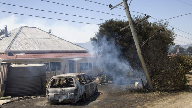 The aftermath at Dunalley on the east coast of Tasmania after a bushfire ravaged the town.