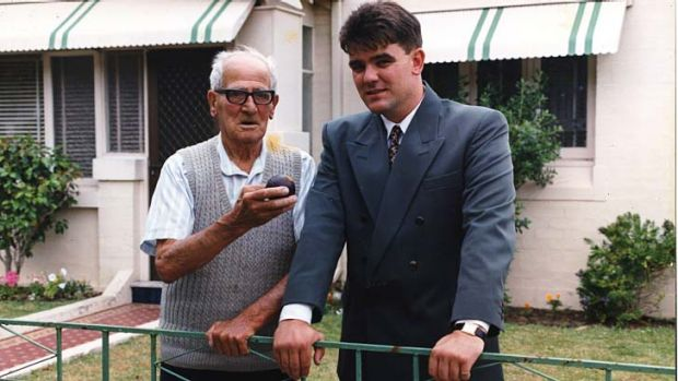 Generous spirit … the reporter with Harold Larwood in 1990.
