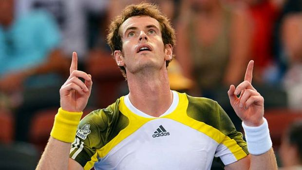 New man … Andy Murray celebrates after beating Denis Istomin in Brisbane.