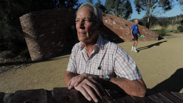Ric Hingee at the Bushfire memorial near Stromlo Forest Park. He and other residents affected by the 2003 fire storm, ...