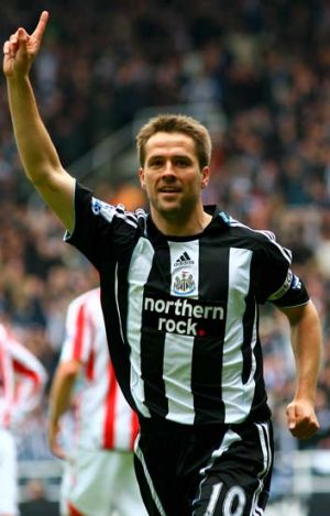 English striker Michael Owen in his Newcastle United playing days.