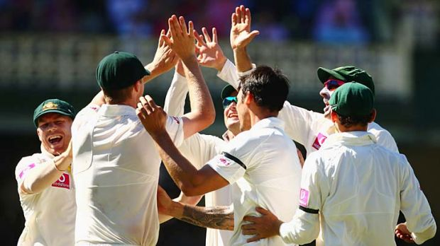 Victory in sight: The Australians celebrate after dismissing Lahiru Thirimanne at the SCG.