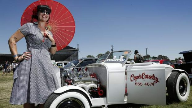 Sarah Cope from Engadine keeping cool with her 1932 Ford Roadster.